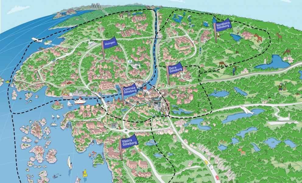 Göteborgskarta 2014 fem områden